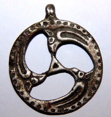 Viking Silver Horse Pendant with Beasts Heads  11th century AD