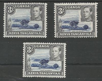 KUT SG147,147a & 14ac THE 3 DIFFERENT  3/- DULL ULTRAMARINE & BLACK MNH CAT £165