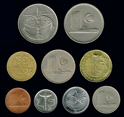 MALAYSIA:-9 different Older & Recent circulation coins AP6203