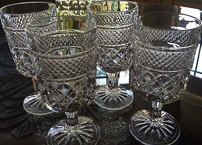 "Lot Of 8 Small 4 3/4"" T Diamond Pattern Liqueur After Dinner Goblets"
