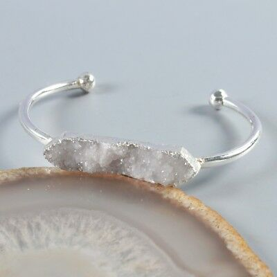 Natural Agate Druzy Geode Bangle Silver Plated B049474