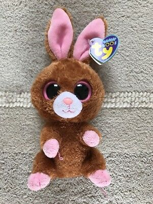 TY Beanie Boo Hopson brown bunny rabbit teddy bear with pink eyes ears soft toy