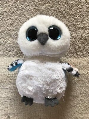 TY Beanie Boo Spells grey white snowy owl with sparkly eyes collectible soft toy