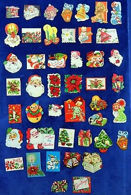 Christmas Seals, Stickers Vintage Lot of 45 Gummed, 1940's-1950's Assorted