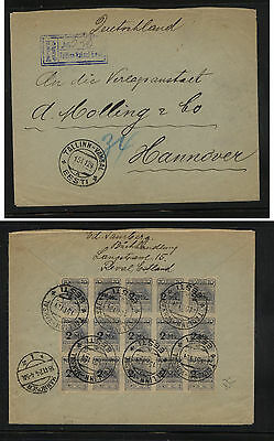Estonia  #57  block of 15 on registered cover to Germany        KL0629