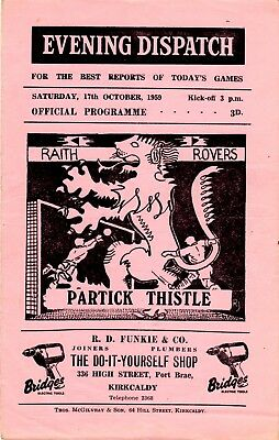 Raith Rovers v Partick Thistle Scottish League 17th October 1959