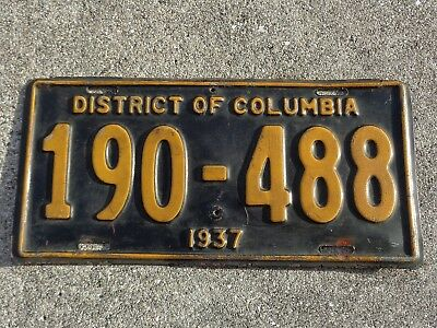 District of Columbia 1937  license plate #  190 - 488