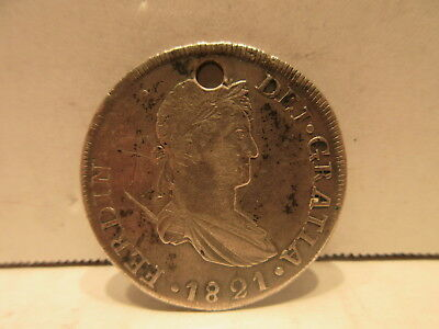 1821 CG Mexico Durango 8 Reales War Of Independence Coin KM111.2