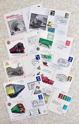 Ten Railway Commemorative Covers - Golden Arrow - Lmsr - Irish Mail Various Shs.