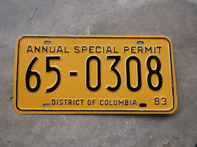 District of Columbia Annual Special Permit 1983 License Plate  #  65 - 0308