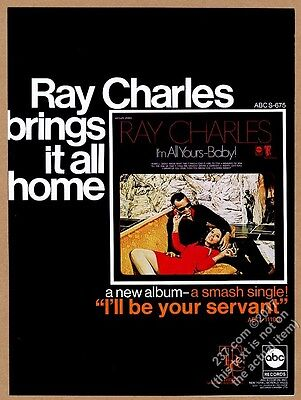 1969 Ray Charles photo I'm All Yours Baby album release trade print ad