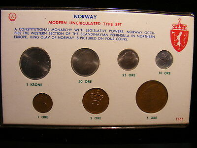 NORWAY 1964 - 7 Different Uncirculated Coins - Private Setup Mint Set