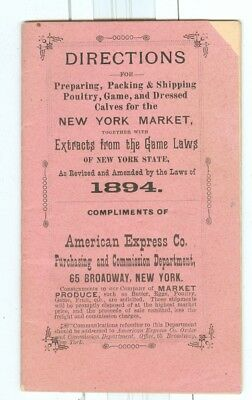 1894 New York Game Laws, Directions Packing & Shipping Game