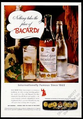 1943 Bacardi Cuban Rum bottle and highball glass photo vintage print ad