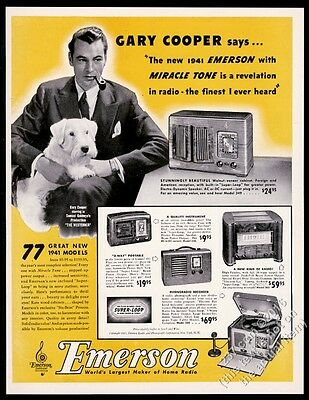 1940 Sealyham Terrier Gary Cooper photo Emerson radio & phonoradio recorder ad
