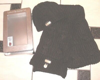 Ugg Australia Brown Beanie Luxury Hat & Scarf Set In Silver Tin Rrp £115.00
