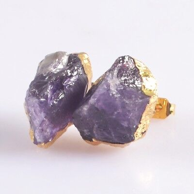 Freeform Rough Natural Amethyst Stud Earrings Gold Plated H103714