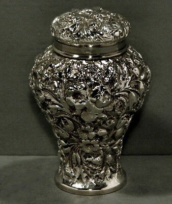 A. Jacobi Sterling Tea Caddy     c1885      RARE        * HAND DECORATED *