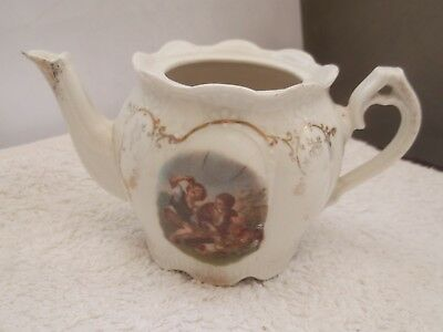 Small Decorative Tea Pot With Boys Eating Fruit Pattern  No Lid  No Maker