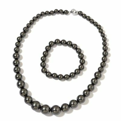 Black Shell Pearl Necklace with Silver Magnetic Lock, Stretchable Bracelet
