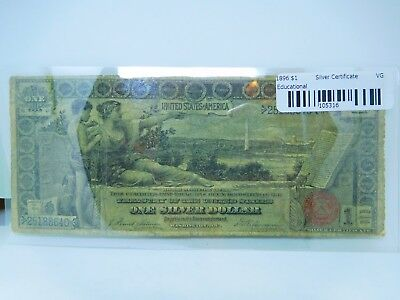 1896 $1 US Educational Large Size Silver Certificate Very Good