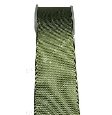 "4y 57mm 2 1/4"" Moss Green Premium Single Sided Wide Satin Ribbon Eco FREE PP"