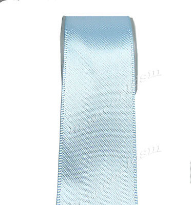 "5y 50mm 2"" Lt. Blue Premium Single Sided Wide Heavy Satin Ribbon Eco FREE PP"