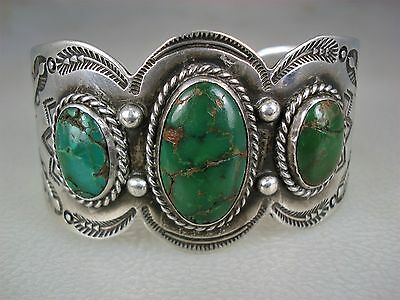 OLD Fred Harvey era NAVAJO STAMPED IH COIN SILVER & 3 GREEN TURQUOISE BRACELET