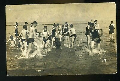 Isle of Man BATHERS in the sea enjoying the spashing  RP