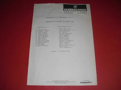 1996/97 Friendly Scarborough V Man City Teamsheet