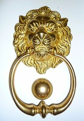 Lovely LARGE Solid  Brass Lion's Head Door Knocker C/W Ring, Striker & Hardware