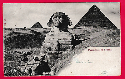 Dated Jan. 1902. Pyramids and Sphinx, Egypt