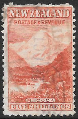NEW ZEALAND 1899 5s carmine-red P.11 no watermark, used small fault. SSG 270.