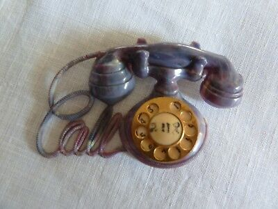 Vintage Early Plastic Pin Gray Purple TELEPHONE Celluloid or Bakelite