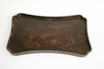 Antique Chinese Wooden Hand Painted Landscape Figure Lacquer Tray Plate - Marks
