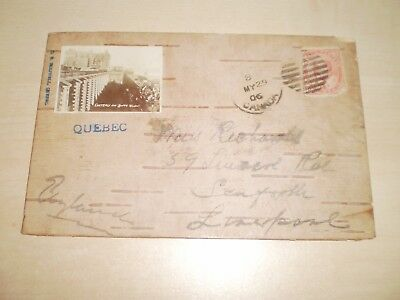 1906 Wooden Postcard From Quebec With Photo Of Lower Town By G.R Holiwell Quebec
