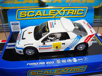 C3326 BRAND NEW BOXED SCALEXTRIC FORD  RS200  No6 CAR - WORKING LIGHTS
