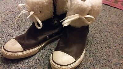 Vintage 1990s Converse high top Leather Zip Boots UK 3.5 / 4
