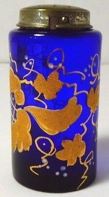 Antique Cobalt Blue FRENCH Gilded + Beaded Glass Shaker With Metal Top. 1850