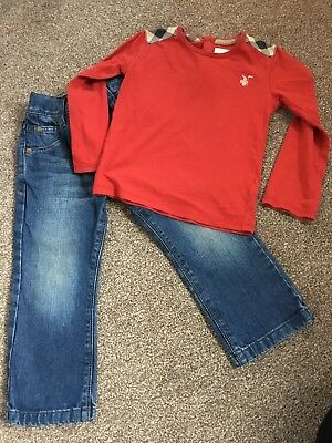 Boys burberry top and next jeans age 3