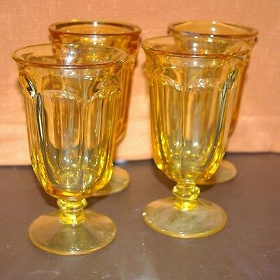 Set Of 4 Stemmed Used Libbey Duratuff Ice Tea/water Glasses Honey Amber Rare