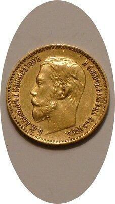 1897 Gold 5 roubles of Russia .900 Fine GOLD