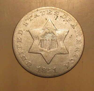 1851 Three Cent Silver - NICE Condition - 75SA