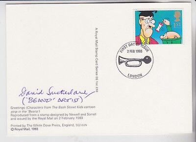 Gb Stamps 1993 Greetings Phq First Day Signed Beano Artist David Sutherland