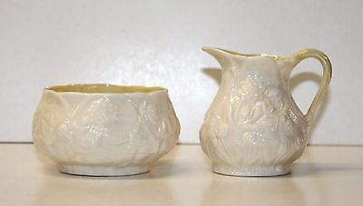 Creamer & Sugar Bowl Belleek Fermanagh Ireland 2nd Green Mark (1955-1965)