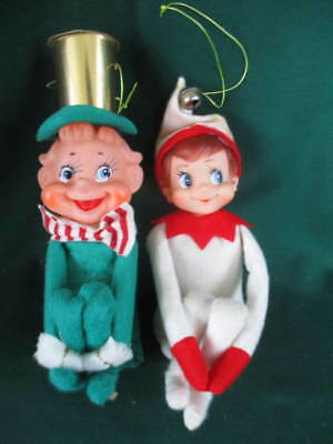 "2 Vintage Mid Century 7"" Christmas Knee Hugger Pixie Elf Ornaments Japan VG Cnd"