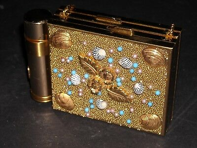 Vintage Compact Lipstick Combo Gold tone Shell encrusted unmarked unused