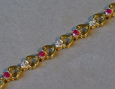 NATURAL RUBY 18K YELLOW GOLD over STERLING SILVER OPEN HEART LINK BRACELET NOS !