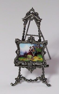 Antique Early 20thC Enameled Dollhouse Plaque on 935 Sterling Silver Easel
