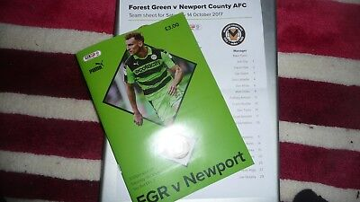 Forest Green Rovers V Newport County 2017/18 Skybet 2 Programme +Teamsheet